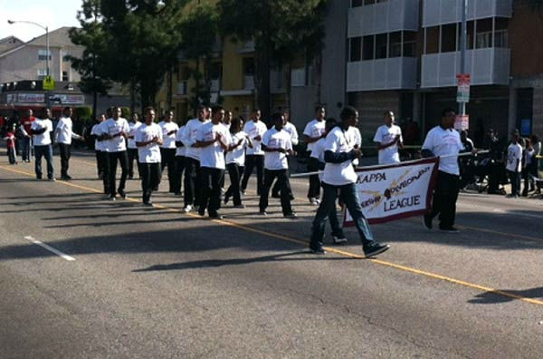 The Kappa League participates in the 27th annual Kingdom Day Parade in South Los Angeles on Monday Jan. 16, 2012. They were started in Los Angeles in 1958. <span class=meta>(KABC Photo)</span>