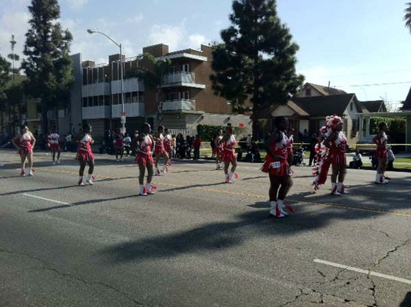 Apache dancers participate in the 27th annual Kingdom Day Parade in South Los Angeles on Monday Jan. 16, 2012. <span class=meta>(KABC Photo)</span>
