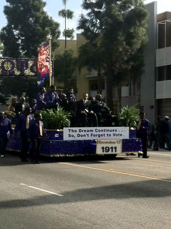 A float encouraging people to vote, rides along the parade route at the 27th annual Kingdom Day Parade in South Los Angeles on Monday Jan. 16, 2012. <span class=meta>(KABC Photo)</span>
