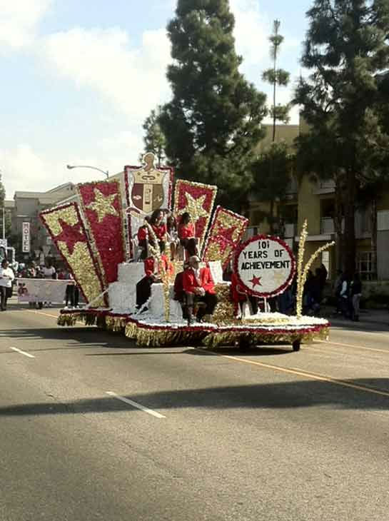 A float rides along the route at the 27th annual Kingdom Day Parade in South Los Angeles on Monday Jan. 16, 2012.  <span class=meta>(KABC Photo)</span>