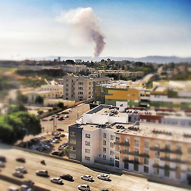 ABC7 viewer Hosie Thomas sent us this Instagram picture via Twitter of smoke from the fire as seen from Downtown Los Angeles. <span class=meta>(Hosie Thomas)</span>