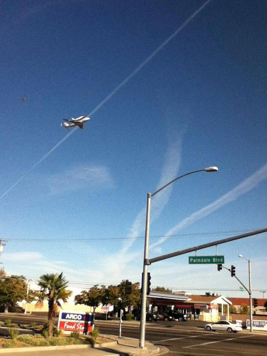 ABC7 viewer Sylvia Peoples took this photo of space shuttle Endeavour on Friday, Sept. 21, 2012. &#160;Send us your shuttle pictures and video to video@abc7.com or post them to the ABC7 Facebook page. You can also Tweet us @abc7 with #SpotTheShuttle. <span class=meta>(ABC7 viewer Sylvia Peoples)</span>