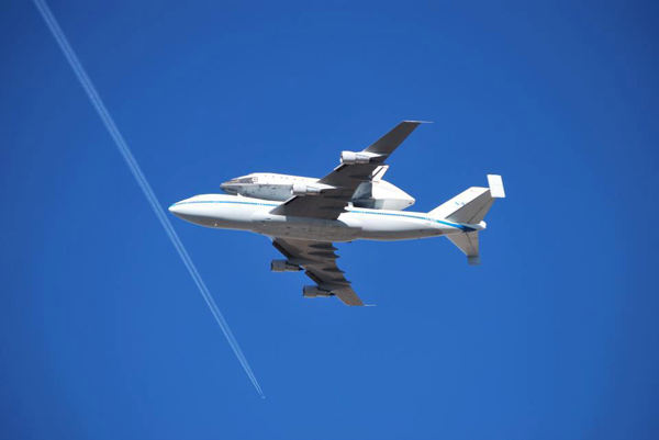 ABC7 viewer Jeff Wilson took this photo of space shuttle Endeavour over Lancaster on Friday, Sept. 21, 2012. &#160;Send us your shuttle pictures and video to video@abc7.com or post them to the ABC7 Facebook page. You can also Tweet us @abc7 with #SpotTheShuttle. <span class=meta>(ABC7 viewer Jeff Wilson)</span>