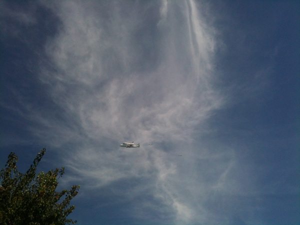 ABC7 producer Joe Maxfield took this photo of space shuttle Endeavour over the KABC-TV building in Glendale on Friday, Sept. 21, 2012.