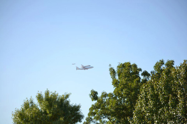 ABC7 viewer Christina Herman took this photo of space shuttle Endeavour leaving Edwards Air Force Base on Friday, Sept. 21, 2012. &#160;Send us your shuttle pictures and video to video@abc7.com or post them to the ABC7 Facebook page. You can also Tweet us @abc7 with #SpotTheShuttle. <span class=meta>(ABC7 viewer Christina Herman)</span>