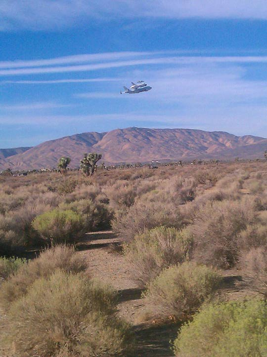 ABC7 viewer Jerry Garcia took this photo of space shuttle Endeavour flying over Palmdale on Friday, Sept. 21, 2012. &#160;Send us your shuttle pictures and video to video@abc7.com or post them to the ABC7 Facebook page. You can also Tweet us @abc7 with #SpotTheShuttle. <span class=meta>(ABC7 viewer Jerry Garcia)</span>