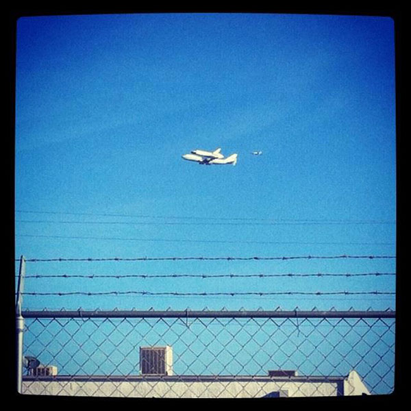 ABC7 viewer Jake Doull took this photo of space shuttle Endeavour flying over Rosamond on Friday, Sept. 21, 2012. &#160;Send us your shuttle pictures and video to video@abc7.com or post them to the ABC7 Facebook page. You can also Tweet us @abc7 with #SpotTheShuttle. <span class=meta>(ABC7 viewer Jake Doull)</span>
