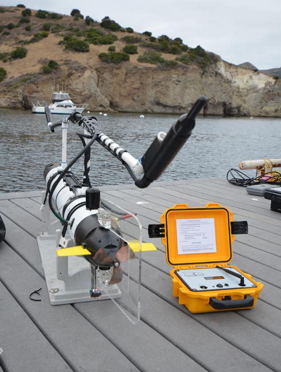 One of the shark-tracking robots is seen on the dock at Fisherman&#39;s Cove in July 2012.  Each robot comes equipped with sensors to measure salinity, water temperature, light levels and chlorophyll. <span class=meta>(Courtesy of Dr. Gwen Goodmanlowe)</span>