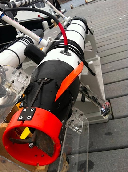 Each robot is equipped with a propeller, compass, depth sensor, GPS in the antenna, hydrophones, Wi-Fi and a video camera so scientists can see what the sharks might be seeing as they swim through the water. <span class=meta>(KABC &#47; Lisa Bartley)</span>