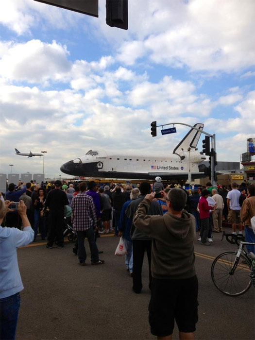 ABC7 viewer Sandy Aguila took this picture of space shuttle Endeavour on Friday, Oct. 12, 2012. &#160;Send us your shuttle pictures and video to video@abc7.com or post them to the ABC7 Facebook page. You can also Tweet us @abc7 with #SpotTheShuttle. <span class=meta>(ABC7 viewer Sandy Aguila)</span>