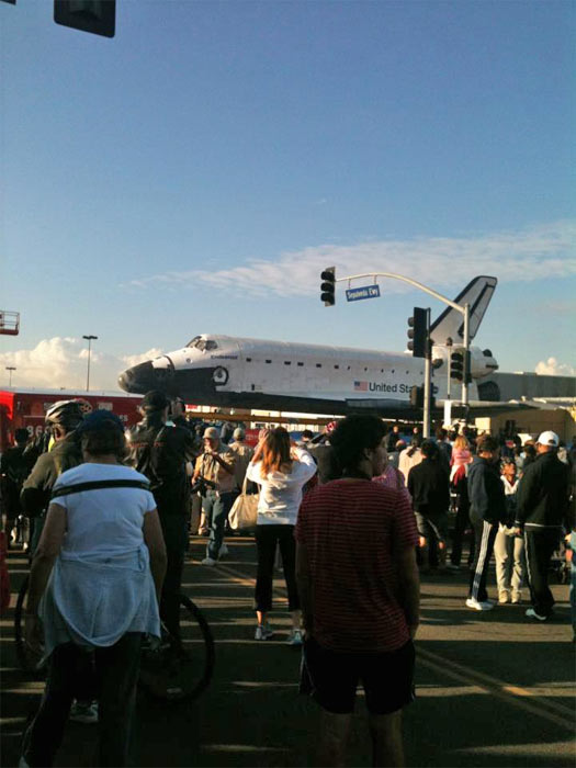 ABC7 viewer Malik Lewis took this picture of space shuttle Endeavour on Friday, Oct. 12, 2012. &#160;Send us your shuttle pictures and video to video@abc7.com or post them to the ABC7 Facebook page. You can also Tweet us @abc7 with #SpotTheShuttle. <span class=meta>(ABC7 viewer Malik Lewis)</span>