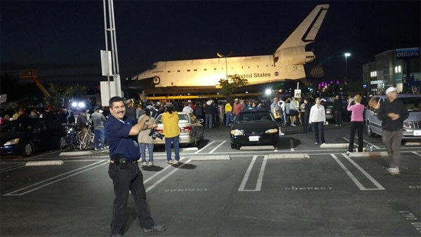 ABC7 viewer Juan Carlos posted this photo on our Facebook page of space shuttle Endeavour on Friday, Oct. 12, 2012. &#160;Send us your shuttle pictures and video to video@abc7.com or post them to the ABC7 Facebook page. You can also Tweet us @abc7 with #SpotTheShuttle. <span class=meta>(ABC7 viewer Juan Carlos)</span>