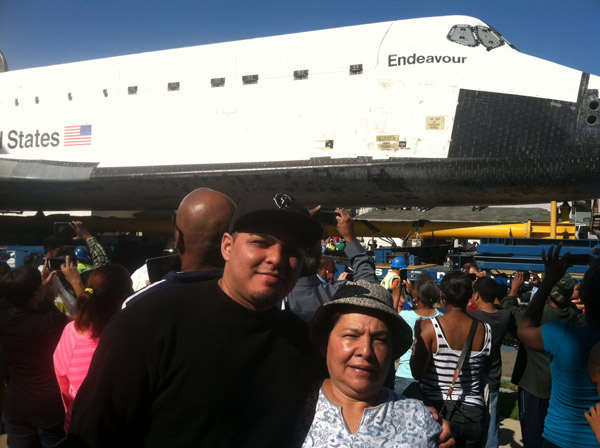 ABC7 viewer Esco sent this photo of space shuttle Endeavour on Saturday, Oct. 13, 2012. &#160;Send us your shuttle pictures and video to video@abc7.com or post them to the ABC7 Facebook page. You can also Tweet us @abc7 with #SpotTheShuttle. <span class=meta>(ABC7 viewer Esco)</span>
