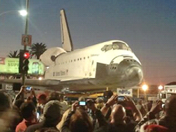 ABC7 viewer Elizabeth Moreno posted this photo on our Facebook page of space shuttle Endeavour on Friday, Oct. 12, 2012. &#160;Send us your shuttle pictures and video to video@abc7.com or post them to the ABC7 Facebook page. You can also Tweet us @abc7 with #SpotTheShuttle. <span class=meta>(ABC7 viewer Elizabeth Moreno)</span>