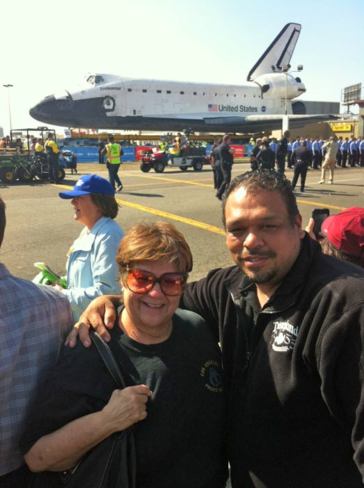 "<div class=""meta image-caption""><div class=""origin-logo origin-image ""><span></span></div><span class=""caption-text"">ABC7 viewers Valerie and Alfred posted this photo on our Facebook page of space shuttle Endeavour on Friday, Oct. 12, 2012.  Send us your shuttle pictures and video to video@abc7.com or post them to the ABC7 Facebook page. You can also Tweet us @abc7 with #SpotTheShuttle. (ABC7 viewers Valerie and Alfred)</span></div>"