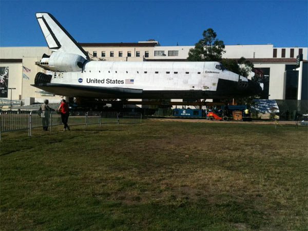ABC7 viewer Alyssa Alexander posted this photo on our Facebook page of space shuttle Endeavour on Sunday, Oct. 14, 2012.