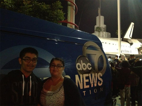 "<div class=""meta ""><span class=""caption-text "">ABC7 viewer Natalia Bugarin posted this photo on our Facebook page of an Eyewitness News van and space shuttle Endeavour on Sunday, Oct. 14, 2012.  Send us your shuttle pictures and video to video@abc7.com or post them to the ABC7 Facebook page. You can also Tweet us @abc7 with #SpotTheShuttle. (ABC7 viewer Natalia Bugarin)</span></div>"