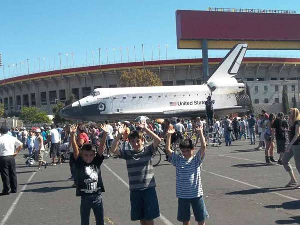 ABC7 viewer Lorayne DeLuna Garcia posted this photo on our Facebook page of space shuttle Endeavour on Sunday, Oct. 14, 2012.