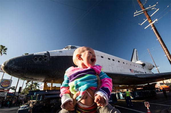 ABC7 viewer Royce Hutain posted this photo on our Facebook page of Zoey having a great time watching space shuttle Endeavour on Sunday, Oct. 14, 2012.