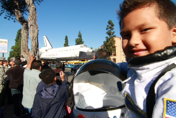 ABC7 viewer Gabriela Gomez sent in this photo of her son Christian posing with space shuttle Endeavour on Sunday, Oct. 14, 2012. &#160;Send us your shuttle pictures and video to video@abc7.com or post them to the ABC7 Facebook page. You can also Tweet us @abc7 with #SpotTheShuttle. <span class=meta>(ABC7 viewer Gabriela Gomez)</span>