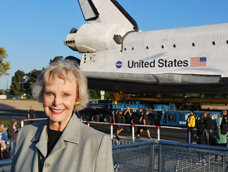 June Lockhart poses with space shuttle Endeavour on Saturday, Oct. 13, 2012. &#160;Send us your shuttle pictures and video to video@abc7.com or post them to the ABC7 Facebook page. You can also Tweet us @abc7 with #SpotTheShuttle. <span class=meta>(June Lockhart-Triolo)</span>