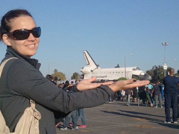 On Sunday, Oct. 14, 2012, ABC7 viewer Matthias sent in this picture of his wife posing with space shuttle Endeavour.