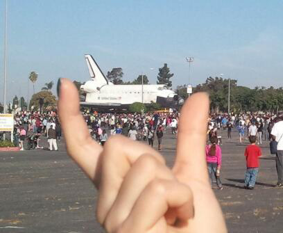On Sunday, Oct. 14, 2012, ABC7 viewer Matthias sent in this picture of his wife posing with space shuttle Endeavour. &#160;Send us your shuttle pictures and video to video@abc7.com or post them to the ABC7 Facebook page. You can also Tweet us @abc7 with #SpotTheShuttle. <span class=meta>(ABC7 viewer Matthias)</span>