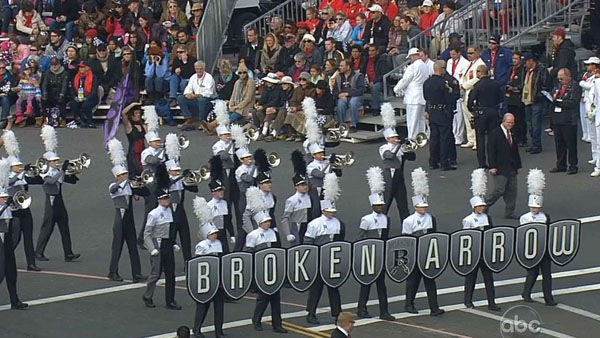 The Broken Arrow High School Band marches through Orange Grove Boulevard during the 124th annual Rose Parade in Pasadena Jan. 1, 2013. <span class=meta>(KABC Photo)</span>
