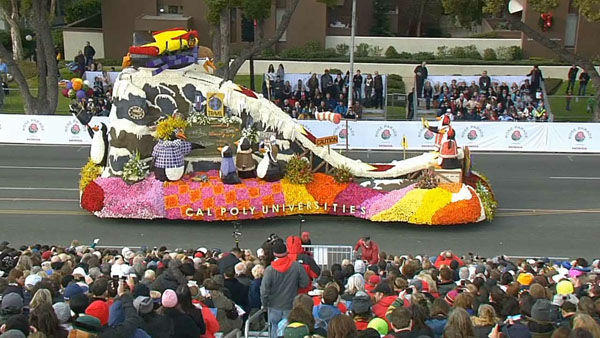 Cal Poly Universities float marches through Orange Grove Boulevard during the 124th annual Rose Parade in Pasadena Jan. 1, 2013. <span class=meta>(KABC Photo)</span>
