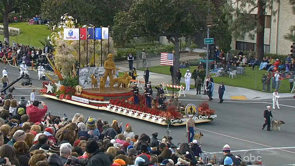 Dick Van Patten&#39;s Natural Balance Pet Foods, Inc.&#39;s float moves through Orange Grove Boulevard during the 124th annual Rose Parade in Pasadena Jan. 1, 2013. <span class=meta>(KABC Photo)</span>