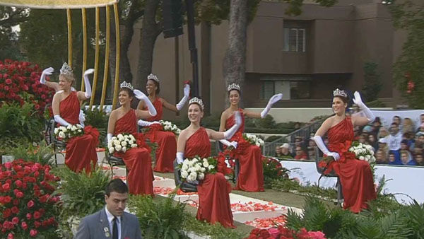 Macy&#39;s Rose Parade court float passed crowds on Orange Grove Boulevard during the 124th annual Rose Parade in Pasadena Jan. 1, 2013. <span class=meta>(KABC Photo)</span>