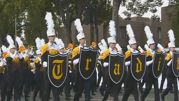 The Davis High marching band marches through Orange Grove Boulevard during the 124th annual Rose Parade in Pasadena Jan. 1, 2013. <span class=meta>(KABC Photo)</span>