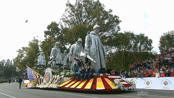 "<div class=""meta ""><span class=""caption-text "">The Department of Defense Korean War Commemoration Committee's 60th Anniversary float passed crowds on Orange Grove Boulevard during the 124th annual Rose Parade in Pasadena Jan. 1, 2013. (KABC Photo)</span></div>"