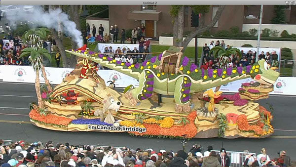 "<div class=""meta ""><span class=""caption-text "">La Cañada Flintridge Tournament of Roses Association's float passed crowds on Orange Grove Boulevard during the 124th annual Rose Parade in Pasadena Jan. 1, 2013. (KABC Photo)</span></div>"