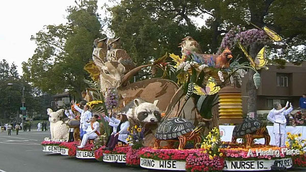 "<div class=""meta ""><span class=""caption-text "">The Nurses' Float: ""A Healing Place'"" passed crowds on Orange Grove Boulevard during the 124th annual Rose Parade in Pasadena Jan. 1, 2013. (KABC Photo)</span></div>"