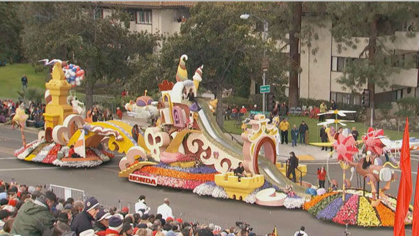 American Honda&#39;s float passed crowds on Orange Grove Boulevard during the 124th annual Rose Parade in Pasadena Jan. 1, 2013. <span class=meta>(KABC Photo)</span>
