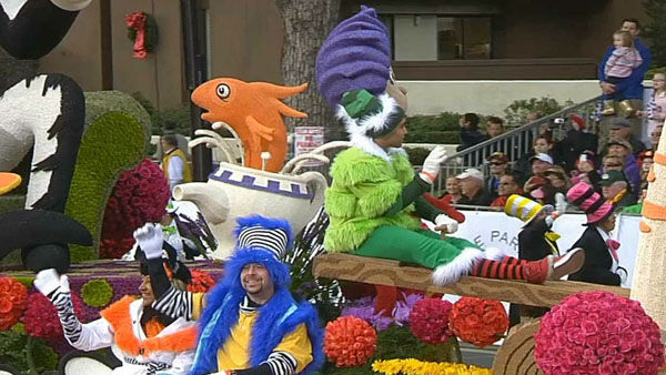 Kaiser Permanente&#39;s float passed crowds on Orange Grove Boulevard during the 124th annual Rose Parade in Pasadena Jan. 1, 2013. <span class=meta>(KABC Photo)</span>
