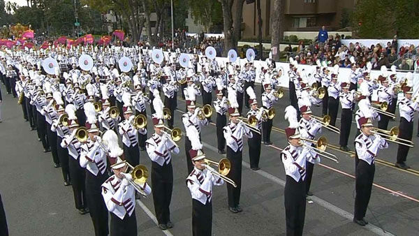Lassiter High School Trojan Marching Band marches through Orange Grove Boulevard during the 124th annual Rose Parade in Pasadena Jan. 1, 2013.   <span class=meta>(KABC Photo)</span>