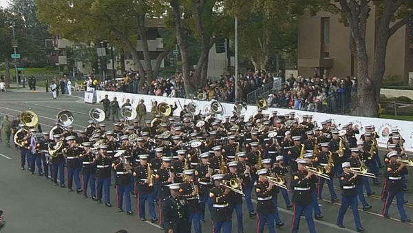 West Coast Composite Marine Band marched through Orange Grove Boulevard during the 124th annual Rose Parade in Pasadena Jan. 1, 2013.   <span class=meta>(KABC Photo)</span>