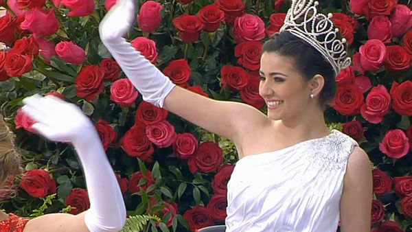 Rose Queen and Royal Court ride in the Macy&#39;s float Presenting the Royal Court on Orange Grove Boulevard during the 124th annual Rose Parade in Pasadena Jan. 1, 2013. <span class=meta>(KABC Photo)</span>