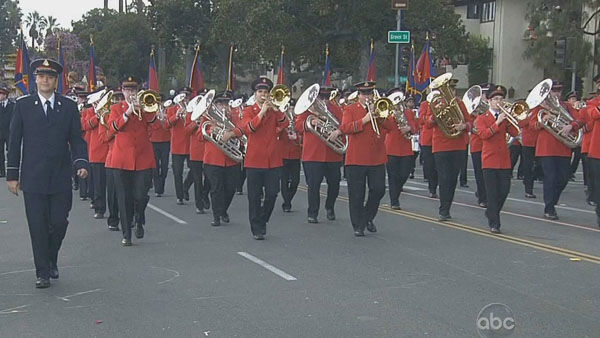 The Salvation Army Tournament of Roses Band marched through Orange Grove Boulevard during the 124th annual Rose Parade in Pasadena Jan. 1, 2013. <span class=meta>(KABC Photo)</span>