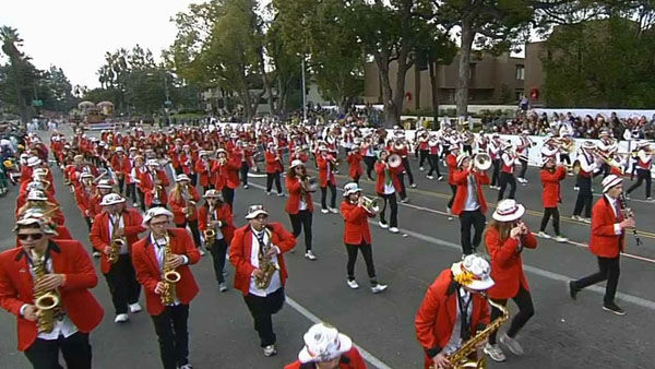 Stanford University Marching Band marched through Orange Grove Boulevard during the 124th annual Rose Parade in Pasadena Jan. 1, 2013. <span class=meta>(KABC Photo)</span>