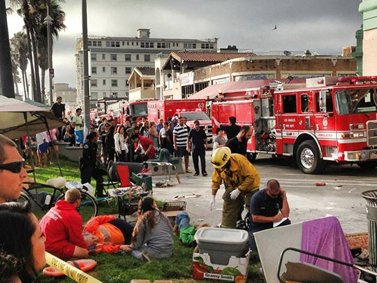 "<div class=""meta ""><span class=""caption-text "">The scene at Venice Beach after a car reportedly struck a crowd of people on the boardwalk Saturday, Aug. 3, 2013. (ABC7 viewer Derek Milner)</span></div>"