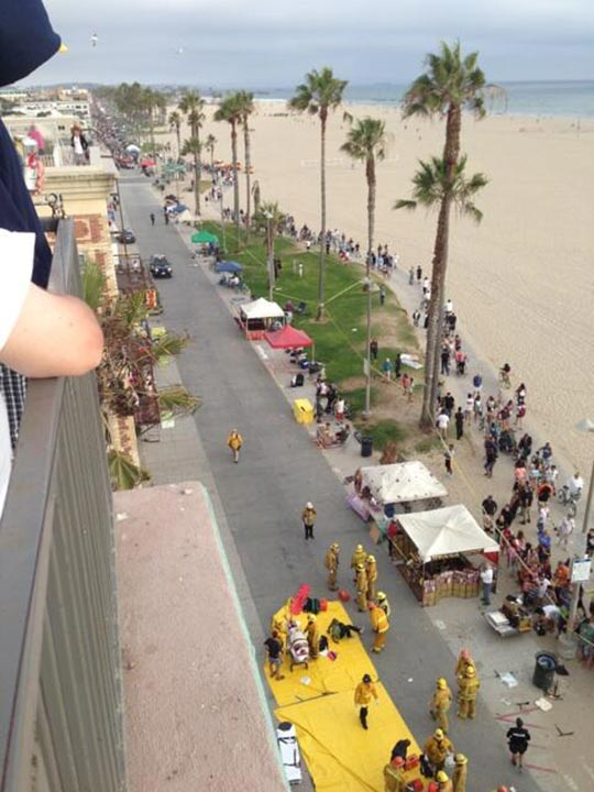 "<div class=""meta ""><span class=""caption-text "">The scene at Venice Beach after a car reportedly struck a crowd of people on the boardwalk Saturday, Aug. 3, 2013. (twitter.com/madism40)</span></div>"