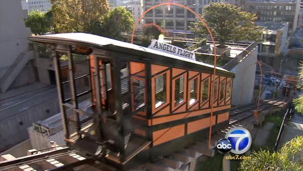 The Angels Flight began carrying passengers up and down Bunker Hill again Monday, March 15, 2010, nine years after a fatal accident forced an extensive overhaul of the tiny railway's operating and safety systems.