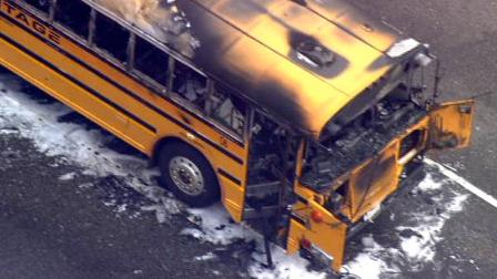A school bus was charred on the 101 South in the Cahuenga Pass on Wednesday, May 19. Two kids suffered minor smoke inhalation injuries.