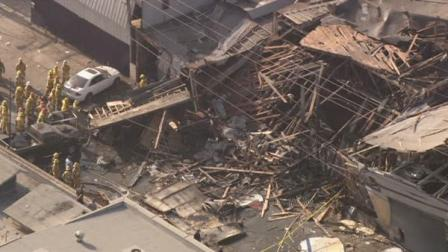 A roof collapsed after a possible explosion at a welding business in South Los Angeles on Friday.