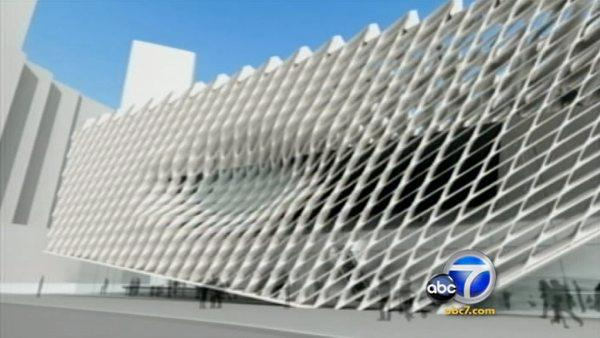 The Broad will be a contemporary art museum covered by a honeycomb veil three stories high.