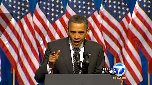 Obama rallies LA crowd, defends record