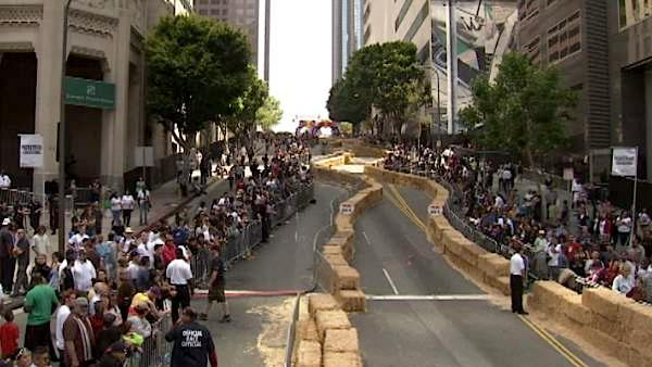 The race route at the 2011 Red Bull Soapbox Derby Race went down Grand Avenue and took a sharp turn onto 5th Street in downtown Los Angeles.